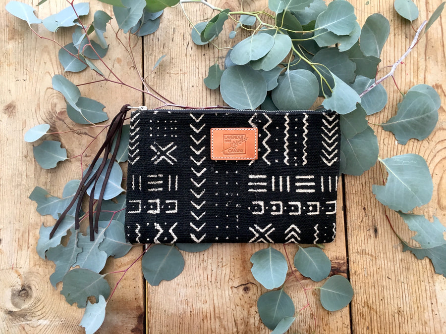 Black & White Mudcloth Pouch