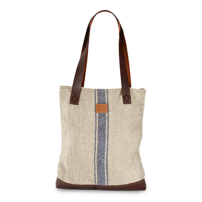 Small Vintage Grain Sack with Blue Stripe