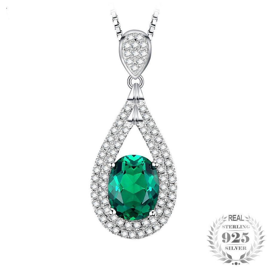 cz fancy peardrop sterling necklace silver emerald