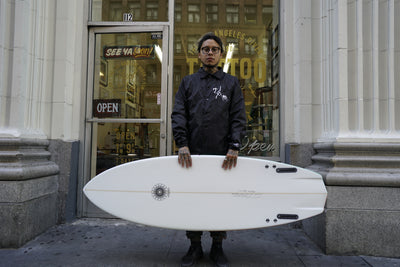 """Mutant"" Tim Stamps Surfboard"