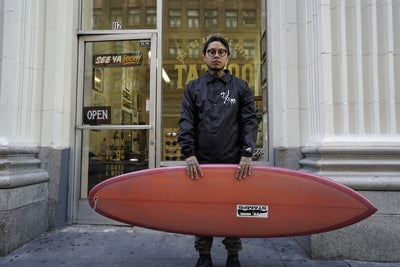 Tim Stamps - Red Singlefin Surfboard
