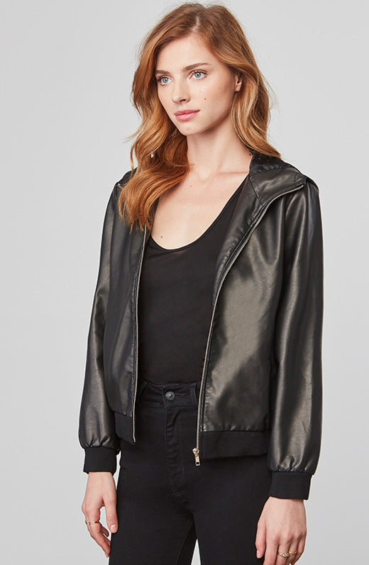 Lucca Faux Leather Hooded Jacket