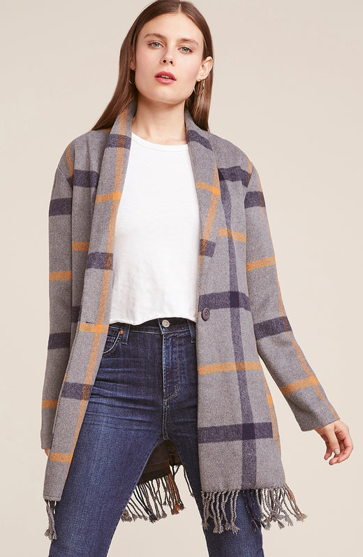 Elementary Fringe Plaid Coat