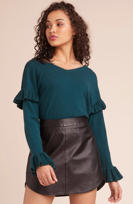 Out To Lunch Ruffle Sleeve Sweater
