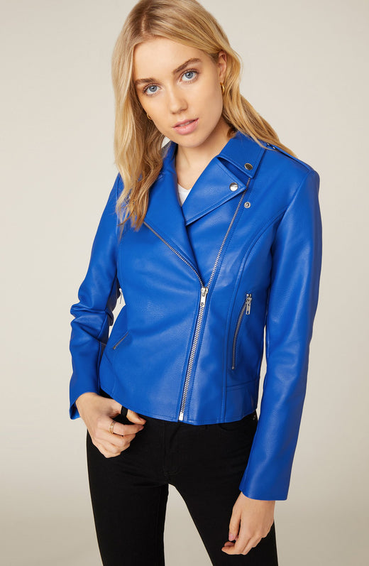 Model wearing blue vegan leather jacket