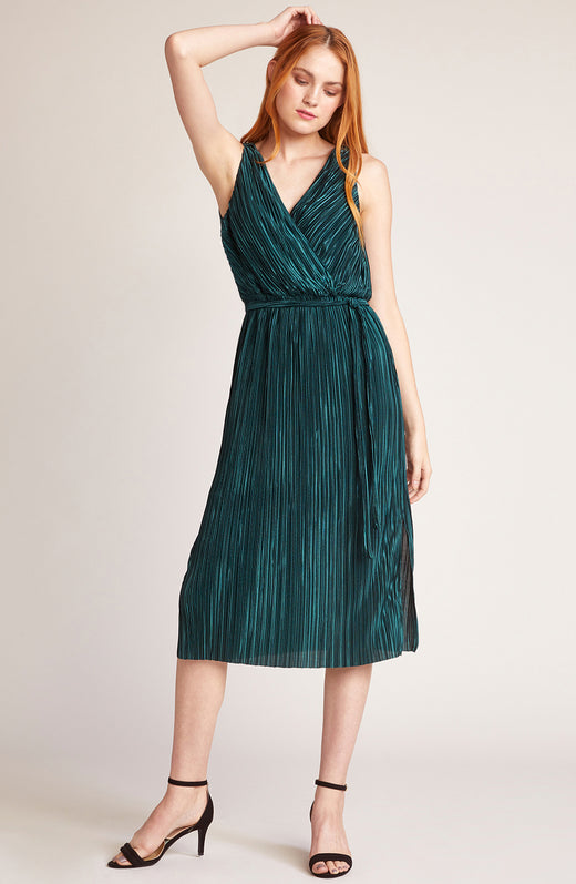 Happy Pleat Faux Wrap Dress