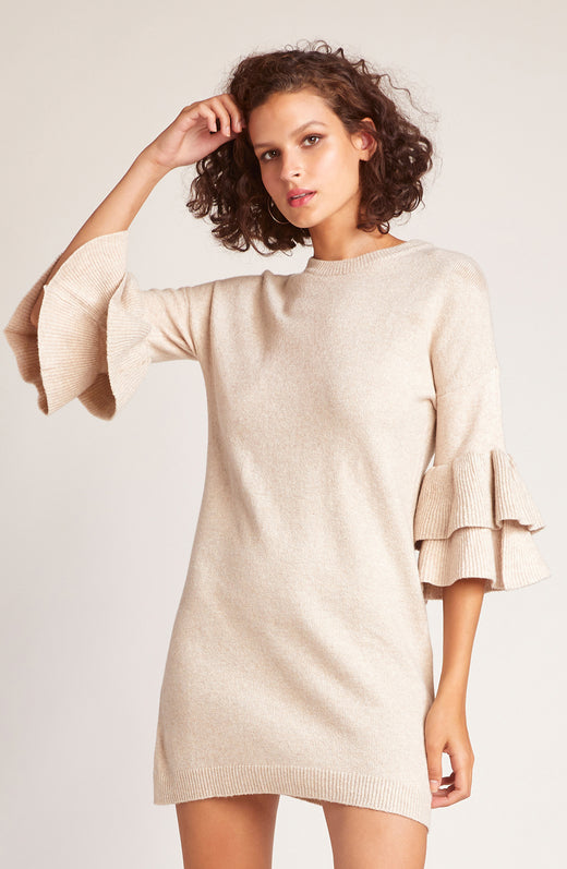 Sweater Than Honey Ruffle Sleeve Dress