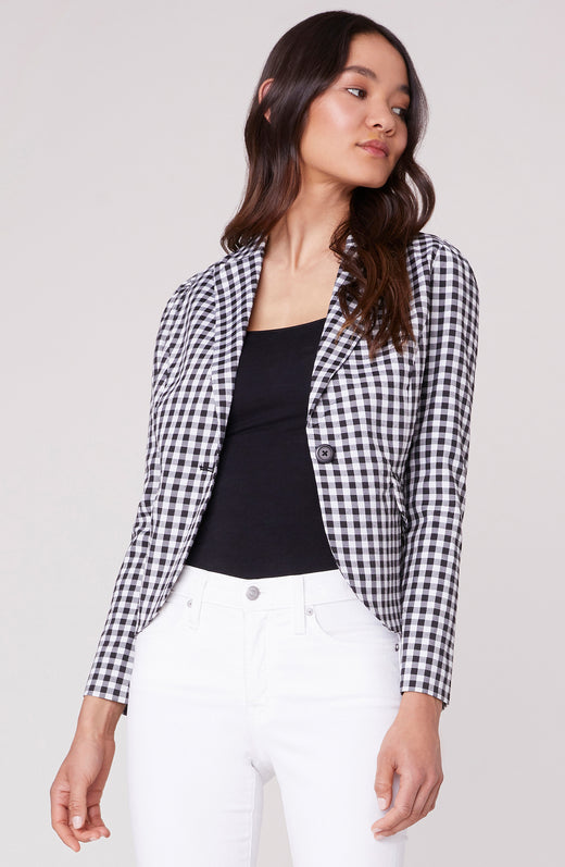 Gingham Style Fitted Blazer