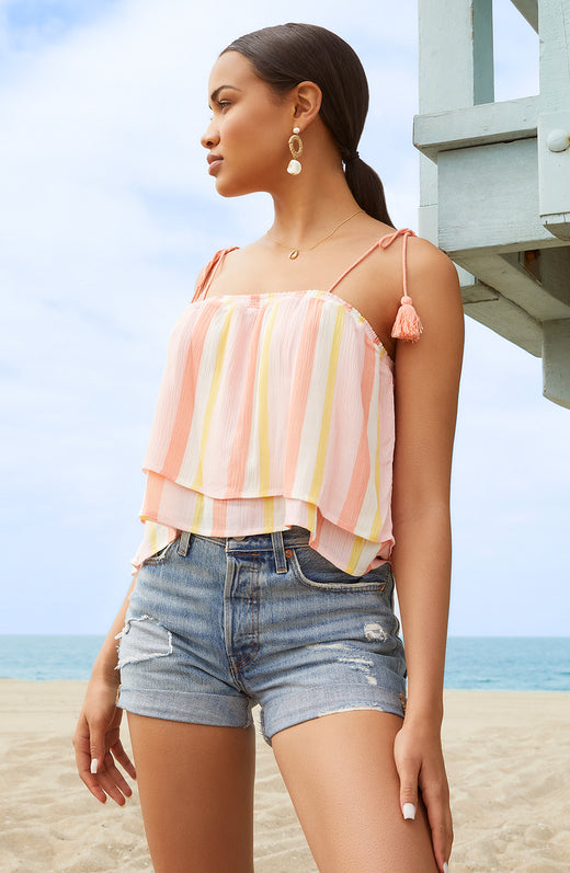 Tassles In The Sand Ruffle Top