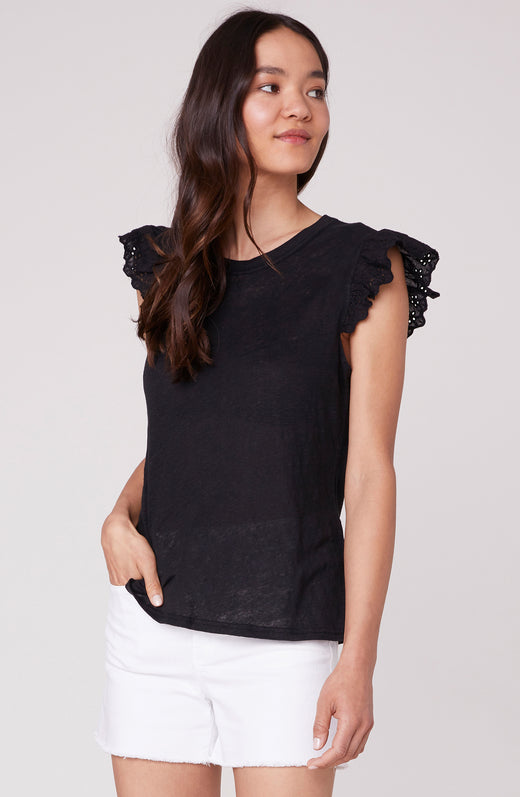 Just A Trim Eyelet Sleeve Top