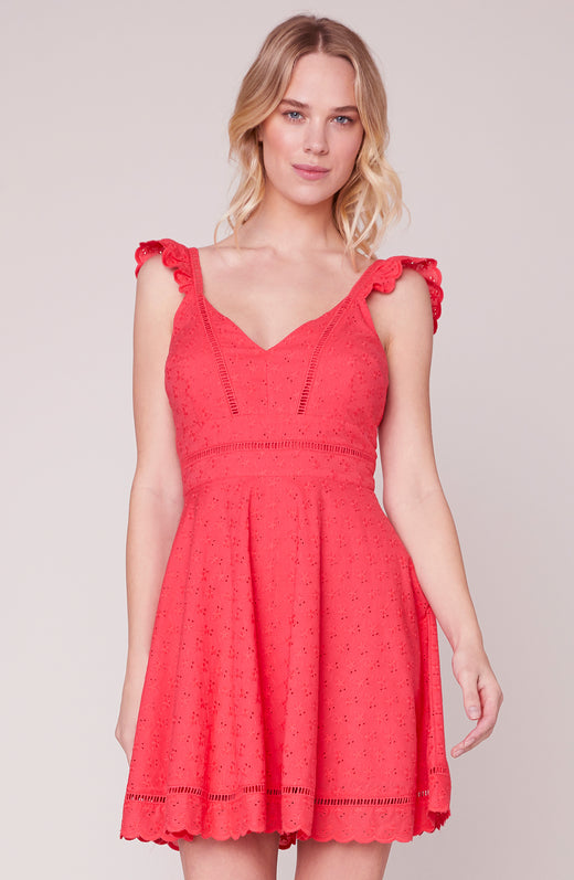 Eyelet You Win Flare Dress