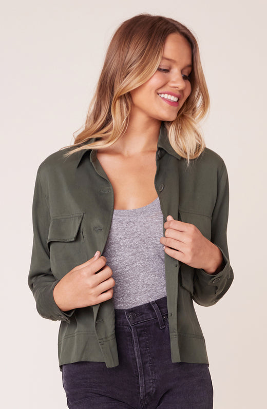 Model wearing Army Green jacket
