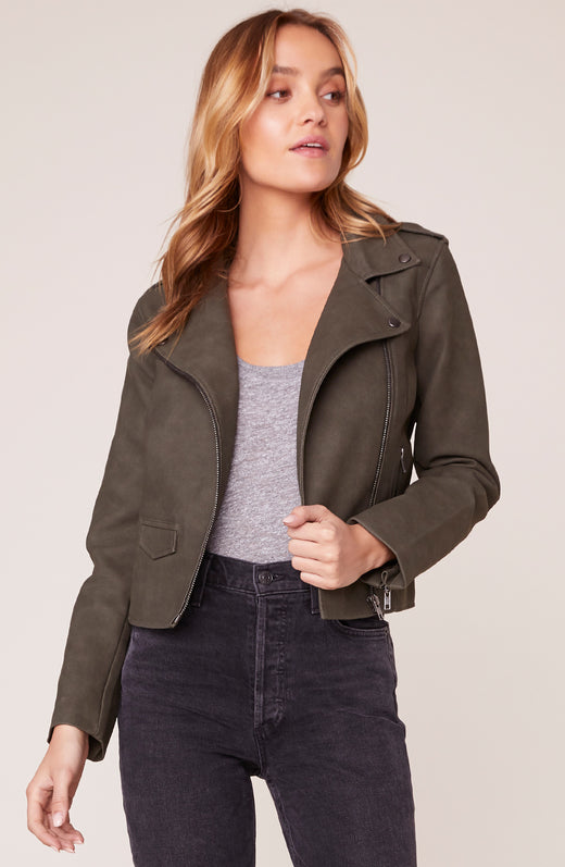 Model wearing Green Moss colored vegan leather moto jacket