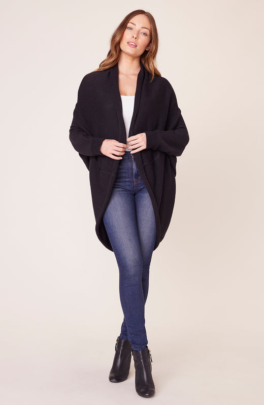 Model wearing black cocoon cardigan