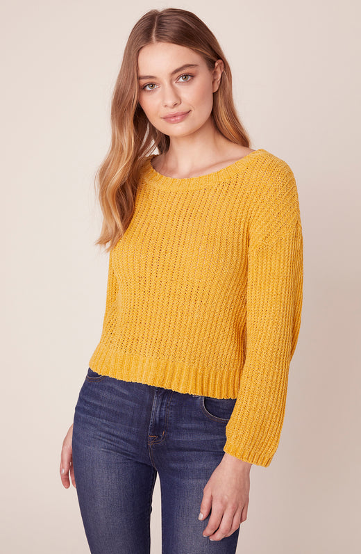 Model wearing yellow sweater