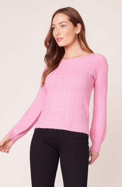 Model wearing pink sweater