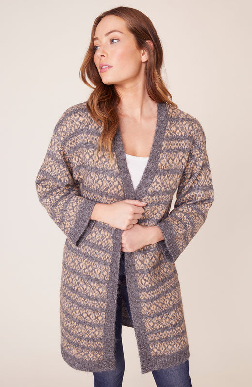 Model wearing grey fairisle cardigan