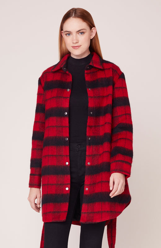 Model wearing plaid wool coat