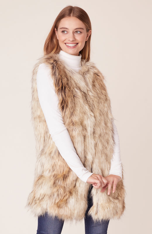 Front view of longline fur vest