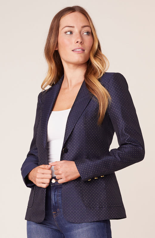 Model wearing dotted blazer