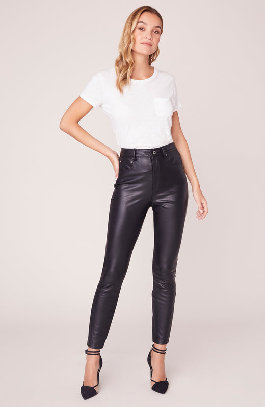 Model wearing vegan leather pants