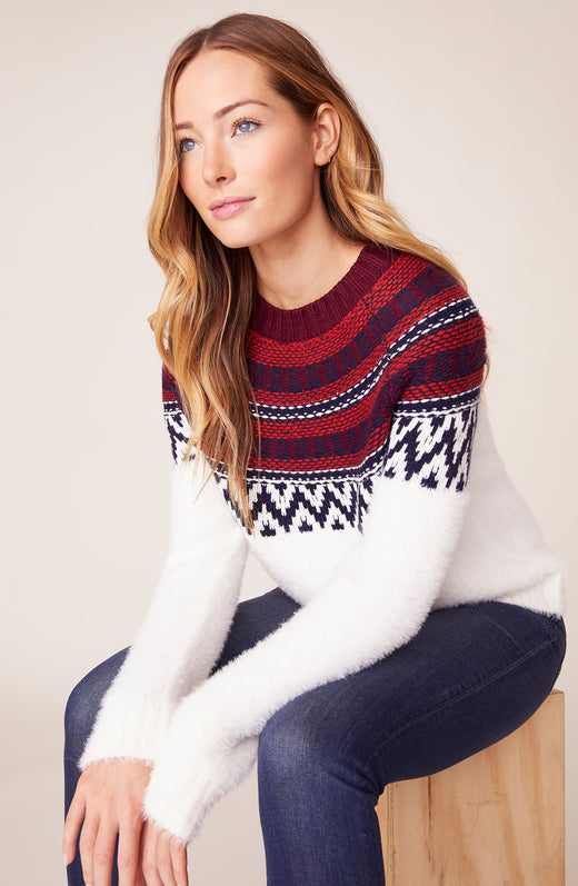 Model wearing fairisle printed sweater