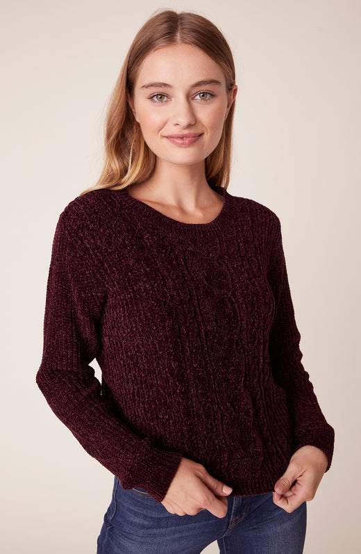 Model wearing berry chenille sweater