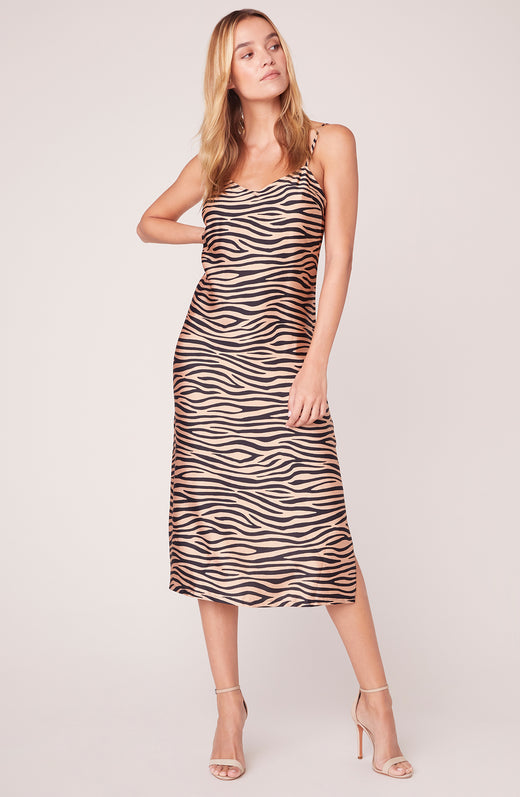 Model wearing sleeveless zebra printed slip dress