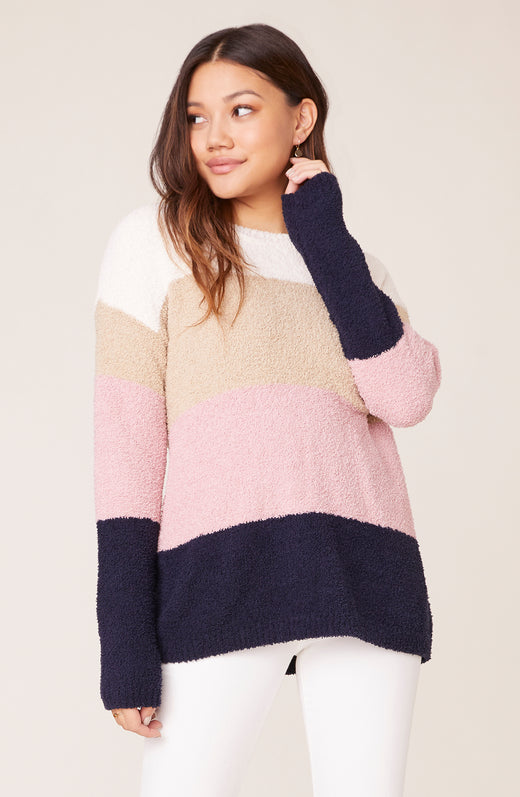 Model wearing colorblocked sweater