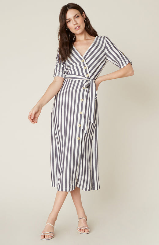 Model wearing vertical stripe midi dress