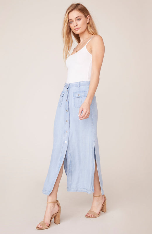 Model wearing chambray maxi skirt