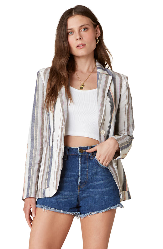 The Line N' Dine is a lightweight cotton linen blend blazer with yarn dyed stripes and oversize pockets.