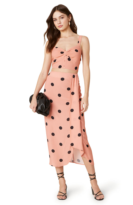 The Naturally Dotty is a bold polkda dot printed midi skirt with a gathered wrap-front side detail and lovely textured rayon drape.