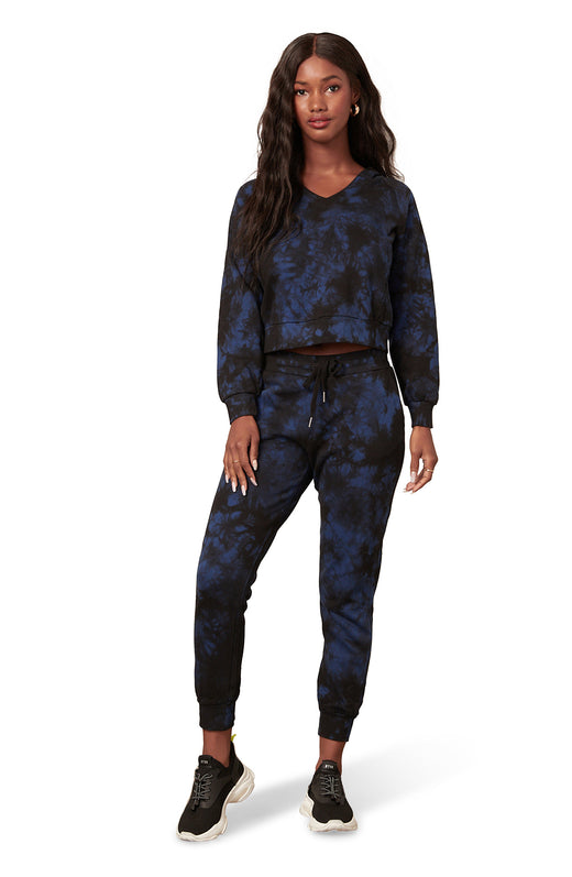 tie-dye jogger pant with slash pockets, ribbed waist band and cuffs, and elastic drawstring waist.