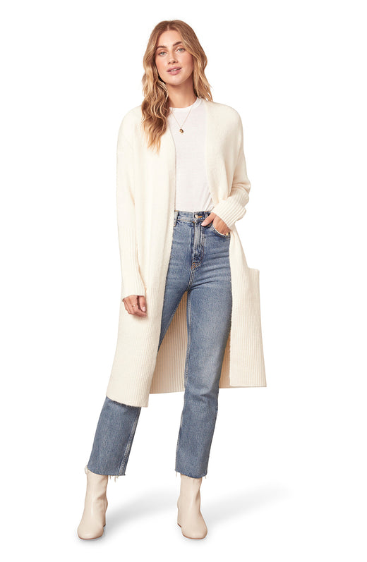 ivory white color open front cardigan sweater with rib stitch detail and pockets.