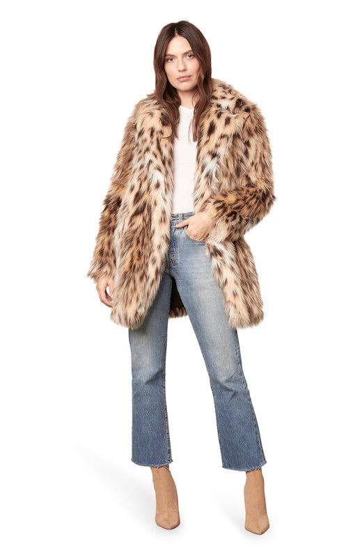 ultra plush high-pile faux fur coat in a leopard animal print.
