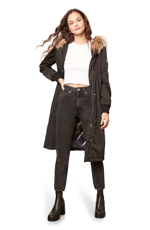 black colored knee length parka coat with a faux fur trimmed hood, zip-snap front closure, and quilted iridescent lining.
