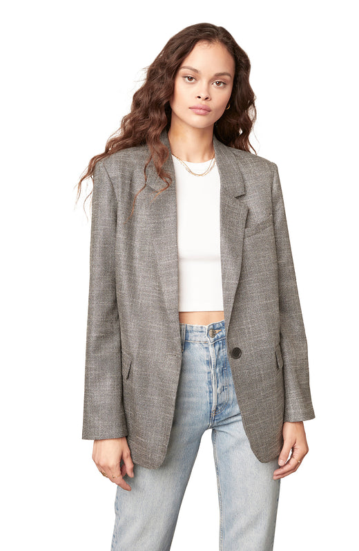 silver/grey lurex-woven metallic boyfriend blazer with a classic slightly oversized fit and single button closure.