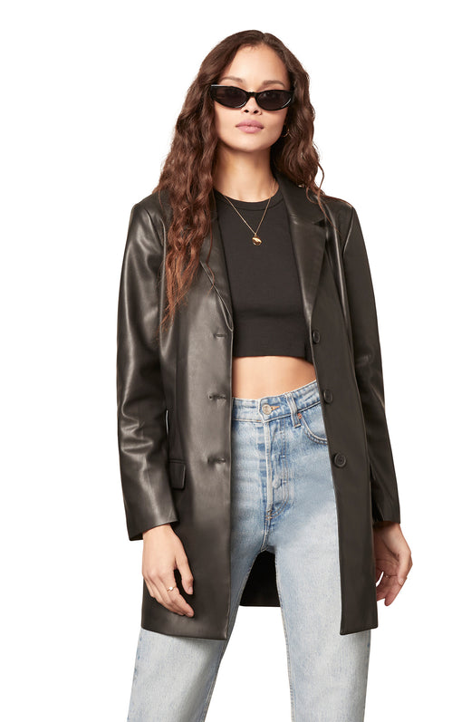 long line vegan leather boyfriend blazer with a three button closure and flap pockets.