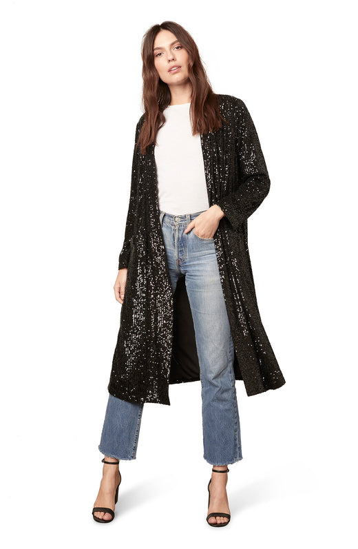 midi length sequin duster jacket in a slinky, open front silhouette with side slits and pockets.