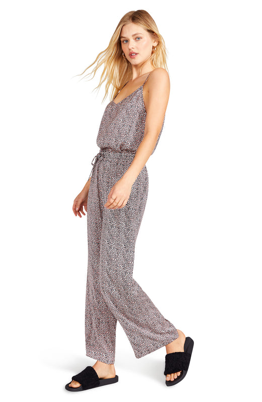silky reverse crepon pajama pant with a drawstring elastic waist and all-over abstract leopard print.