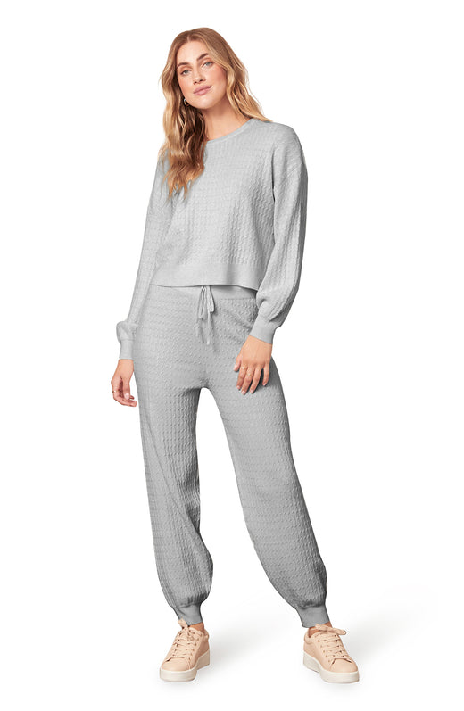 grey ribbed sweater knit jogger pant with a drawstring waistband.