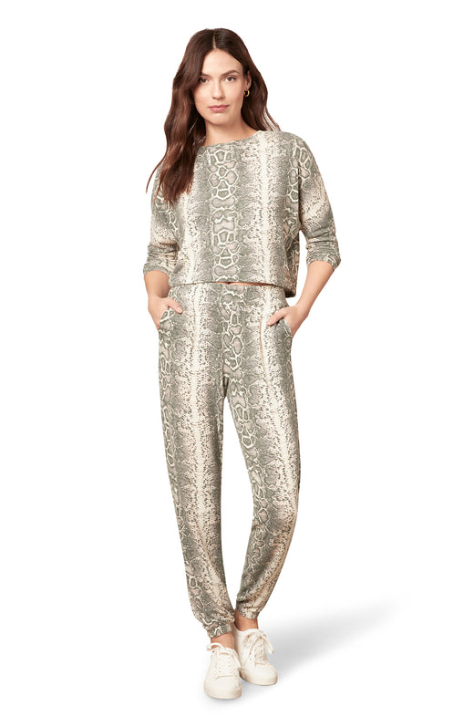 neutral colored snake printed brushed hacci knit jogger pant with slit pockets.