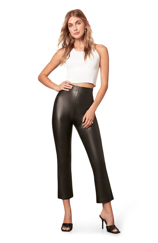 cropped stretch vegan leather kick flare pant with a high rise pull-on waist.