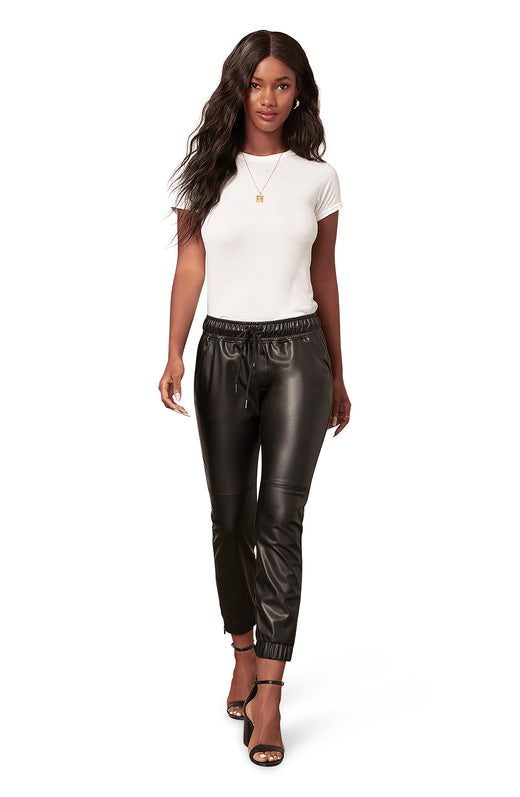 black vegan leather jogger pant with a drawstring waist detail and slit pockets.