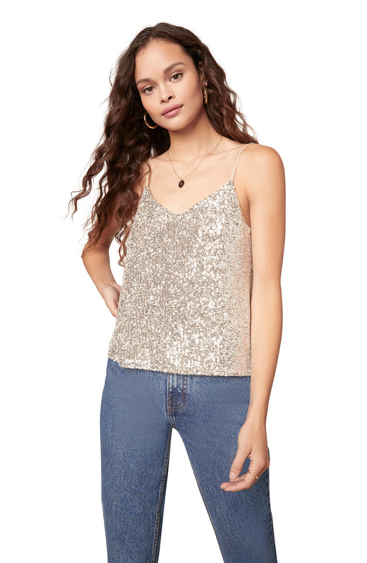 silver sparkling sequin camisole with adjustable straps.