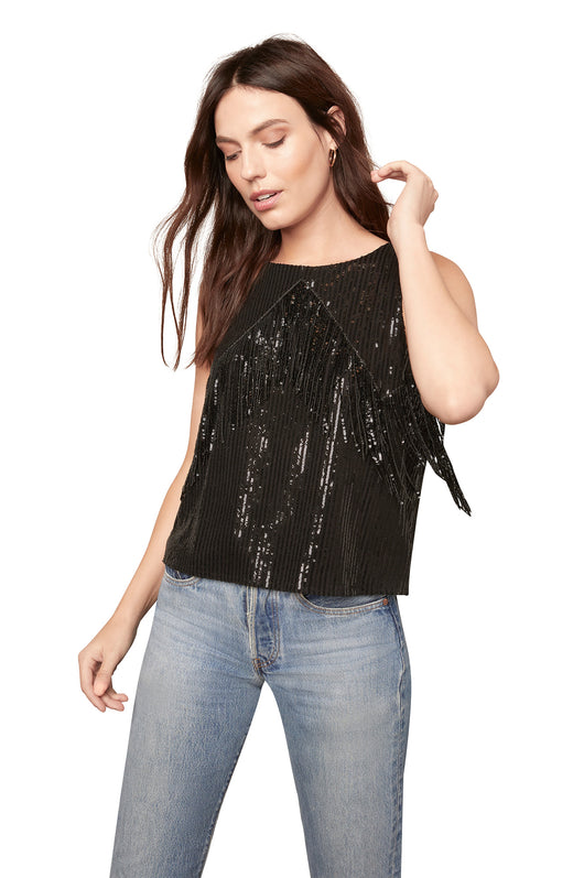 black sequin shell tank top with sequin fringe trim detail and a keyhole button back neck detail.