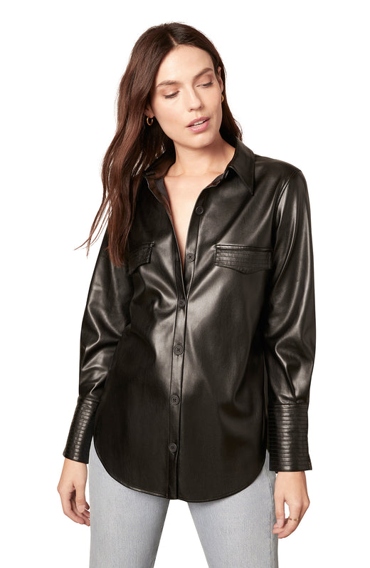 black vegan leather shirt with a button front and wide buttoned cuffs.