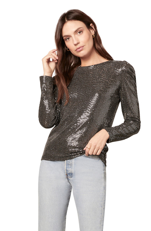 foiled sequin knit longsleeve top with puff sleeve detail.