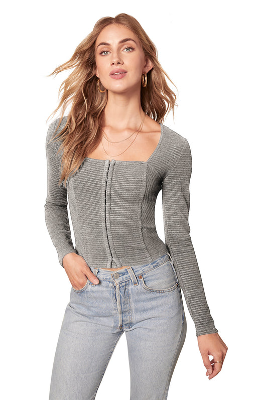 heather grey ottoman ribbed knit longsleeve top with bustier-style boning, hook-and-eye closure, and square neckline.